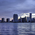 Miami Skyline Waves by Manuel Lopez