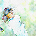 Michelle Wie Hits Her Tee Shot On The Sixth Hole by Don Kuing