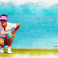 Michelle Wie Lines Up A Putt On The Eighth Green by Don Kuing