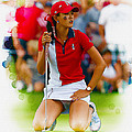 Michelle Wie Of The Usa Solhiem Cup Reacts After Missing A Putt by Don Kuing