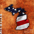 Michigan Amercian Flag State Map by Marvin Blaine