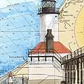 Michigan City Lighthouse In Nautical Chart Map Art Cathy Peek by Cathy Peek