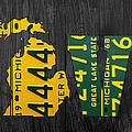 Michigan Love Recycled Vintage License Plate Art State Shape Lettering Phrase by Design Turnpike