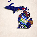 Michigan Map Art With Flag Design by World Art Prints And Designs