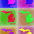 Michigan Pop Art Map 2 by Naxart Studio
