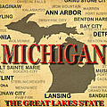 Michigan State Pride Map Silhouette  by Keith Webber Jr