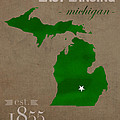 Michigan State University Spartans East Lansing College Town State Map Poster Series No 004 by Design Turnpike