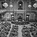 Michigan Tate Senate Black And White From Above by John McGraw