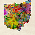Ohio Watercolor Map by Michael Tompsett