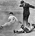 Mickey Mantle Steals Second by Underwood Archives