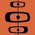 Mid Century Shapes 2 On Orange by Donna Mibus