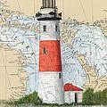 Middle Island Lighthouse Mi Cathy Peek Nautical Chart Art by Cathy Peek