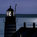 Midnight Moonlight On West Quoddy Head Lighthouse by Marty Saccone