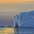 Midnight Sun Icebergs At Sunset by Cliff Wassmann