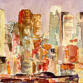 Midtown Manhattan Skyline At Dusk Watercolor Painting Of Nyc by Beverly Brown
