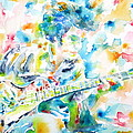 Mike Bloomfield Playing The Guitar - Watercolor Portrait by Fabrizio Cassetta