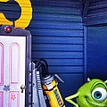 Mike With Boo's Door - Monsters Inc. In Disneyland Paris by Marianna Mills