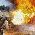 Military Flame Thrower Photo Art 01 by Thomas Woolworth