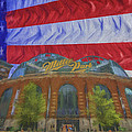 Milwaukee Breers Miller Park Digitally Painted Flag 3 by David Haskett II