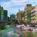 Milwaukee River And Abstract Watercolor by Anita Burgermeister