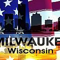 Milwaukee Wi Patriotic Large Cityscape by Angelina Vick
