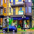 Mimi And Coco Clothing Boutique Laurier In The Rain  Plateau Montreal City Scenes Carole Spandau Art by Carole Spandau