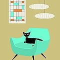 Mini Abstract With Aqua Chair by Donna Mibus