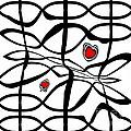 Minimalist Art Black White Red Abstract Art No.206. by Drinka Mercep