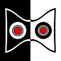 Minimalist Art Geometric Black White Red Abstract Print No.50. by Drinka Mercep