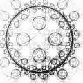 Minimalist Fractal Art Black And White Circles by Matthias Hauser