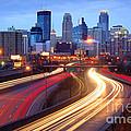 Minneapolis Skyline At Dusk Early Evening by Jon Holiday