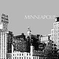 Minneapolis Skyline Mill City Museum - Silver by DB Artist