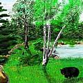 Minnesota Birch Lake And Bear by Bob Donner