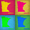 Minnesota Pop Art Map 1  by Naxart Studio