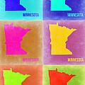 Minnesota Pop Art Map 2 by Naxart Studio