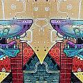 Mirrored Aztec Dog by David Resnikoff