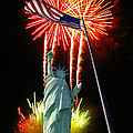 Miss Liberty And Fireworks by Rich Walter