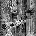 Mission Espada - Wooden Cross - Bw by Beth Vincent