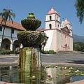 Mission Santa Barbara And Fountain by Christiane Schulze Art And Photography