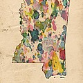 Mississippi Map Vintage Watercolor by Florian Rodarte