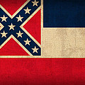 Mississippi State Flag Art On Worn Canvas by Design Turnpike