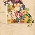 Missouri Map Vintage Watercolor by Florian Rodarte