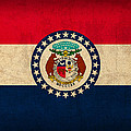 Missouri State Flag Art On Worn Canvas by Design Turnpike