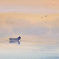 Misty Morning Peace Watercolor Painting by Michelle Wiarda-Constantine