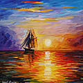 Misty Ship - Palette Knife Oil Painting On Canvas By Leonid Afremov by Leonid Afremov