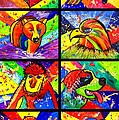 Mix Animal Pop Art by Julia Fine Art And Photography