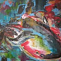 Mobie Joe The Whale-original Abstract Whale Painting Acrylic Blue Red Green by Seon-Jeong Kim
