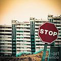 Mobile Photography Toned Stop Sign And Condo Units by Stephan Pietzko