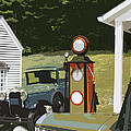Model A Ford And Old Gas Station Illustration  by Keith Webber Jr