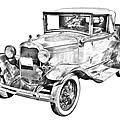 Model A Ford Roadster Antique Car Illustration by Keith Webber Jr